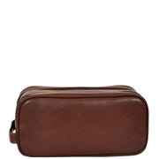Real Leather Wash bag Travel Toiletry Cosmetic Wrist Bag Brown AZ10 Back
