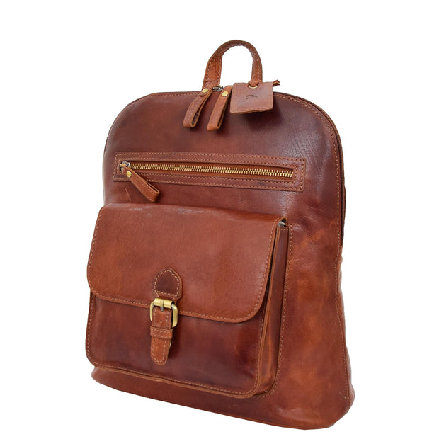 Womens Real Cognac Leather Backpack Organiser Day Rucksack Campus