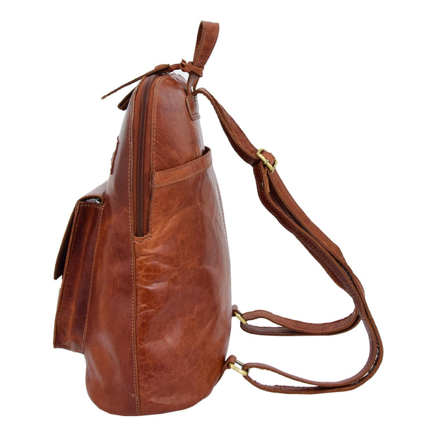Womens Real Cognac Leather Backpack Organiser Day Rucksack Campus Side
