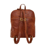 Womens Real Cognac Leather Backpack Organiser Day Rucksack Campus Back