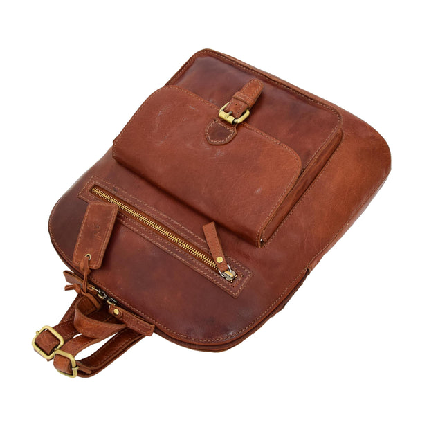 Womens Real Cognac Leather Backpack Organiser Day Rucksack Campus Letdown