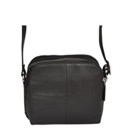 Womens Real Leather Cross Body Sling Shoulder Bag A939 Black Front