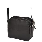 Womens Real Leather Cross Body Sling Shoulder Bag A939 Black Side Angle