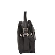 Womens Real Leather Cross Body Sling Shoulder Bag A939 Black Side