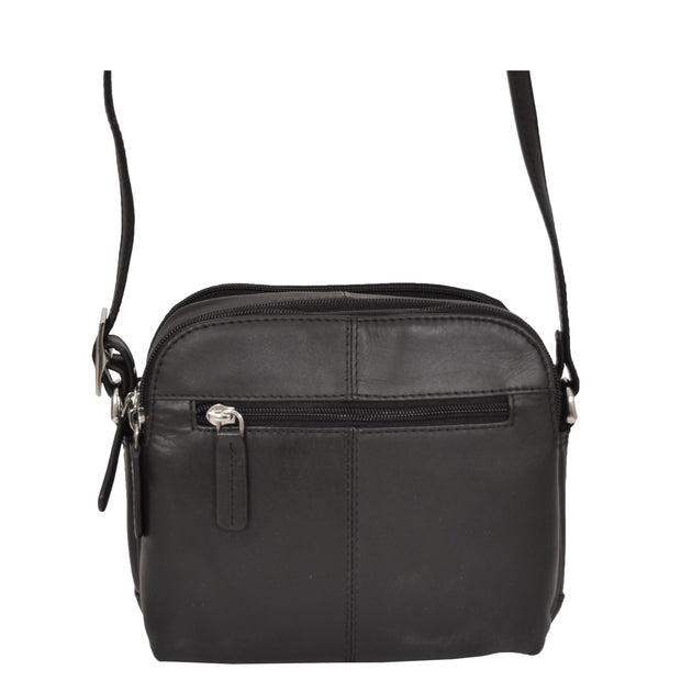 Womens Real Leather Cross Body Sling Shoulder Bag A939 Black Back