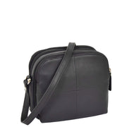 Womens Real Leather Cross Body Sling Shoulder Bag A939 Navy