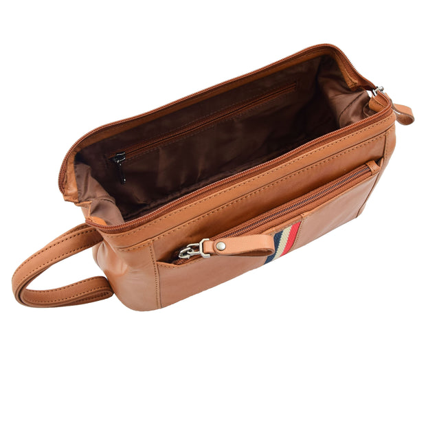 Mens Cognac Leather Toiletry Cosmetic Shaving Kit Travel Wash Bag Guy 3