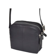 Womens Real Leather Cross Body Sling Shoulder Bag A939 Navy Front Side