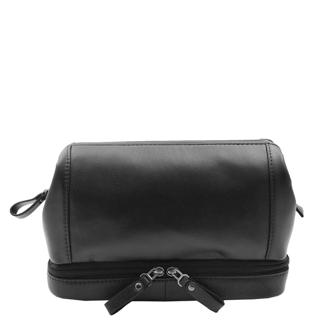 Real Black Leather Toiletry Wash Bag Cosmetic Shaving Kit Travel Pouch Neil 5