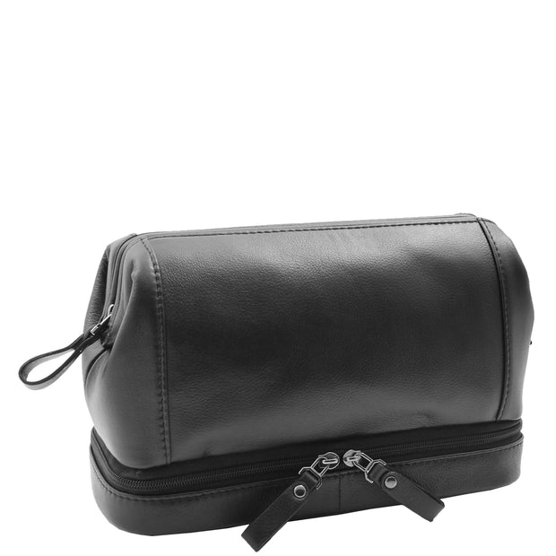 Real Black Leather Toiletry Wash Bag Cosmetic Shaving Kit Travel Pouch Neil