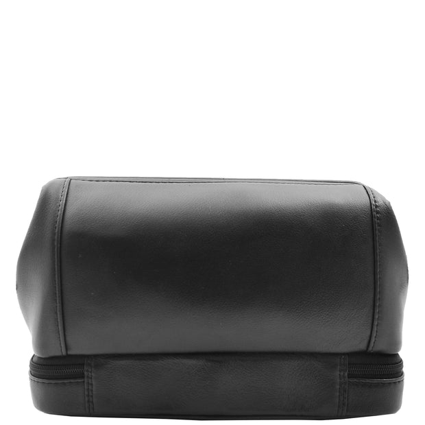 Real Black Leather Toiletry Wash Bag Cosmetic Shaving Kit Travel Pouch Neil 1