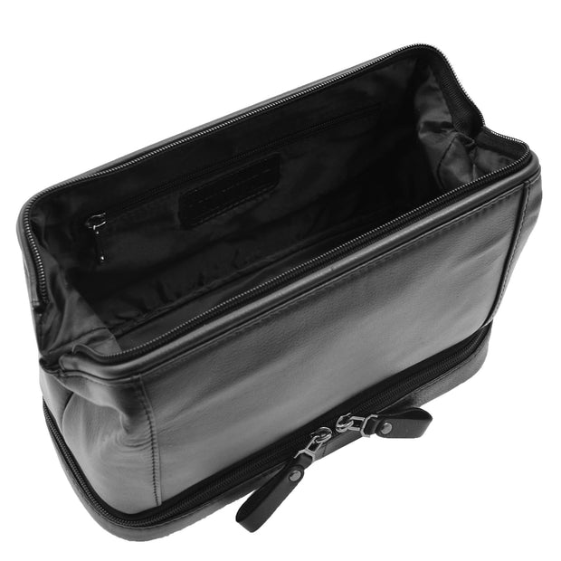 Real Black Leather Toiletry Wash Bag Cosmetic Shaving Kit Travel Pouch Neil 4