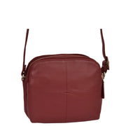 Womens Real Leather Cross Body Sling Shoulder Bag A939 Red Front