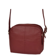 Womens Real Leather Cross Body Sling Shoulder Bag A939 Red Front Angle