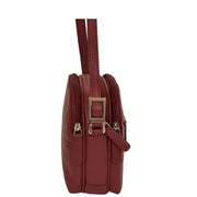 Womens Real Leather Cross Body Sling Shoulder Bag A939 Red Side
