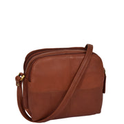 Womens Real Leather Cross Body Sling Shoulder Bag A939 Brown