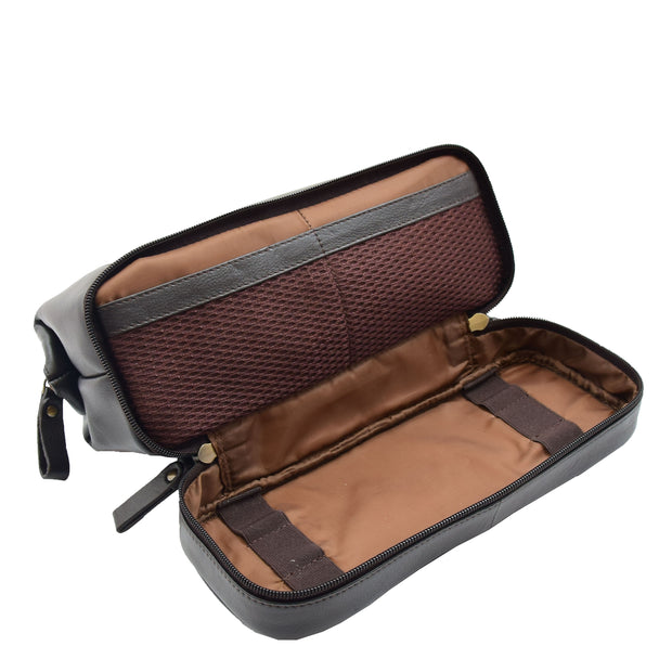 Real Brown Leather Toiletry Wash Bag Cosmetic Shaving Kit Travel Pouch Neil 3