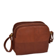 Womens Real Leather Cross Body Sling Shoulder Bag A939 Brown Front Angle 1