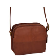 Womens Real Leather Cross Body Sling Shoulder Bag A939 Brown Front Angle 2