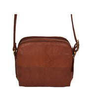 Womens Real Leather Cross Body Sling Shoulder Bag A939 Brown Front