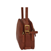 Womens Real Leather Cross Body Sling Shoulder Bag A939 Brown Side