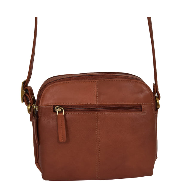 Womens Real Leather Cross Body Sling Shoulder Bag A939 Brown Back