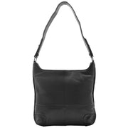 Genuine Black Leather Shoulder Hobo Bag For Women Slim Zip Top Ava