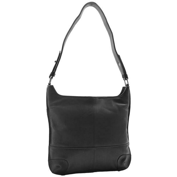 Genuine Black Leather Shoulder Hobo Bag For Women Slim Zip Top Ava 3