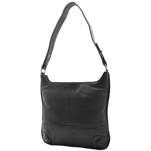 Genuine Black Leather Shoulder Hobo Bag For Women Slim Zip Top Ava 1