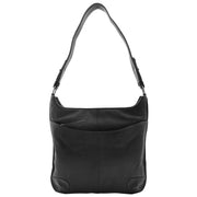 Genuine Black Leather Shoulder Hobo Bag For Women Slim Zip Top Ava 5