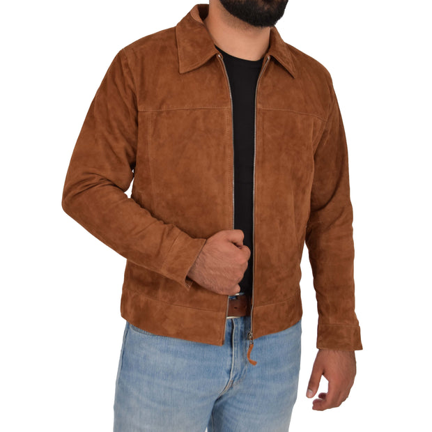 Mens Genuine Soft Suede Zip Jasper Blouson Jacket Baxter Tan Open 1