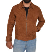 Mens Genuine Soft Suede Zip Jasper Blouson Jacket Baxter Tan