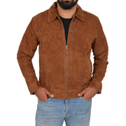 Mens Genuine Soft Suede Zip Jasper Blouson Jacket Baxter Tan Front 1