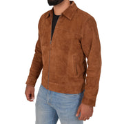 Mens Genuine Soft Suede Zip Jasper Blouson Jacket Baxter Tan Front 2