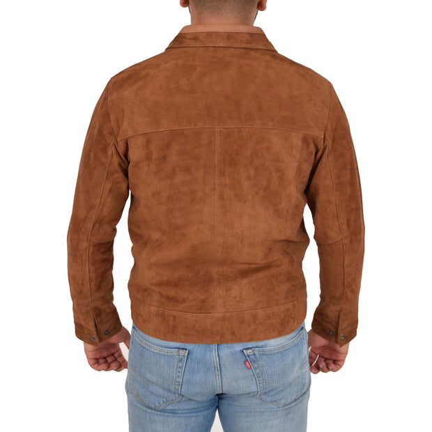 Mens Genuine Soft Suede Zip Jasper Blouson Jacket Baxter Tan Back