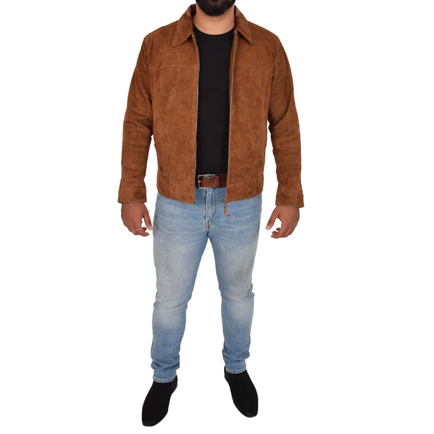Mens Genuine Soft Suede Zip Jasper Blouson Jacket Baxter Tan Full
