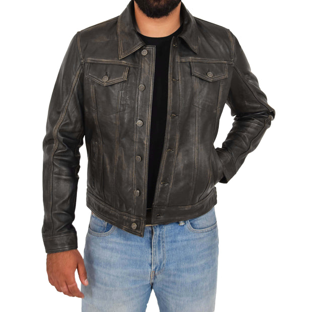Mens Trucker Leather Jacket Vintage Western Denim Style Coat Bond Rub Off