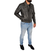 Mens Trucker Leather Jacket Vintage Western Denim Style Coat Bond Rub Off Full