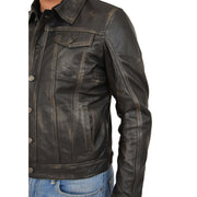 Mens Trucker Leather Jacket Vintage Western Denim Style Coat Bond Rub Off Feature