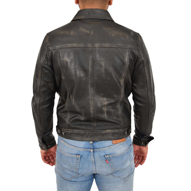 Mens Trucker Leather Jacket Vintage Western Denim Style Coat Bond Rub Off Back