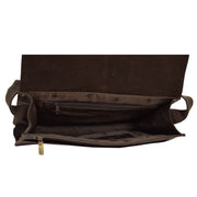 Mens Messenger BROWN Vintage Leather Laptop Office Bag A48 Top Open