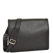 Mens Messenger BLACK Vintage Leather Laptop Office Bag A48
