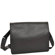 Mens Messenger BLACK Vintage Leather Laptop Office Bag A48 Front