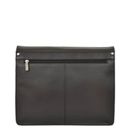 Mens Messenger BLACK Vintage Leather Laptop Office Bag A48 Back