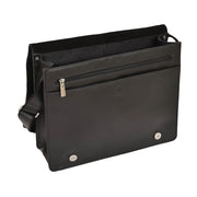 Mens Messenger BLACK Vintage Leather Laptop Office Bag A48 Open