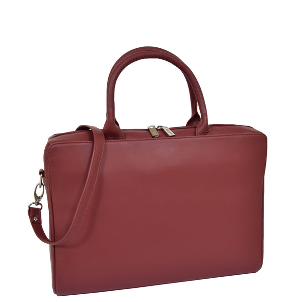 Womens Luxury Soft Leather Briefcase Shoulder Bag A62 Red