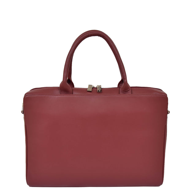 Womens Luxury Soft Leather Briefcase Shoulder Bag A62 Red Front