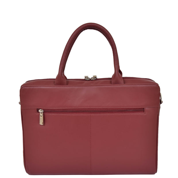 Womens Luxury Soft Leather Briefcase Shoulder Bag A62 Red Back