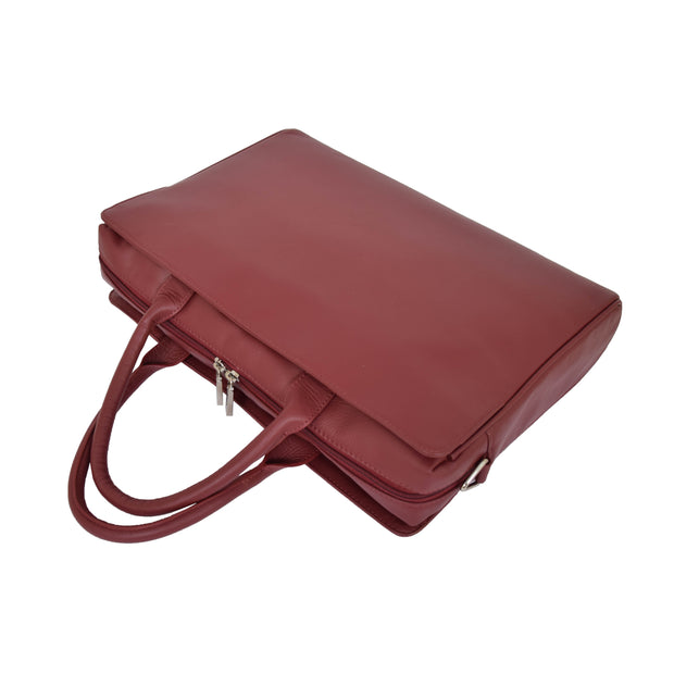 Womens Luxury Soft Leather Briefcase Shoulder Bag A62 Red Letdown