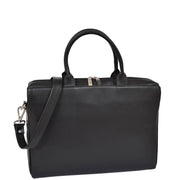 Womens Luxury Soft Leather Briefcase Shoulder Bag A62 Black